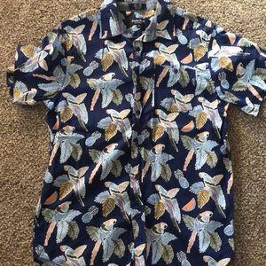 Eighty Eight Platinum Parrot Hawaiian Shirt sz med